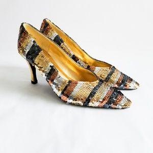 J.Rene Sequin Striped Heels Gold Silver Copper